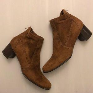 Franco Sarto Cognac Suede Ankle Boots